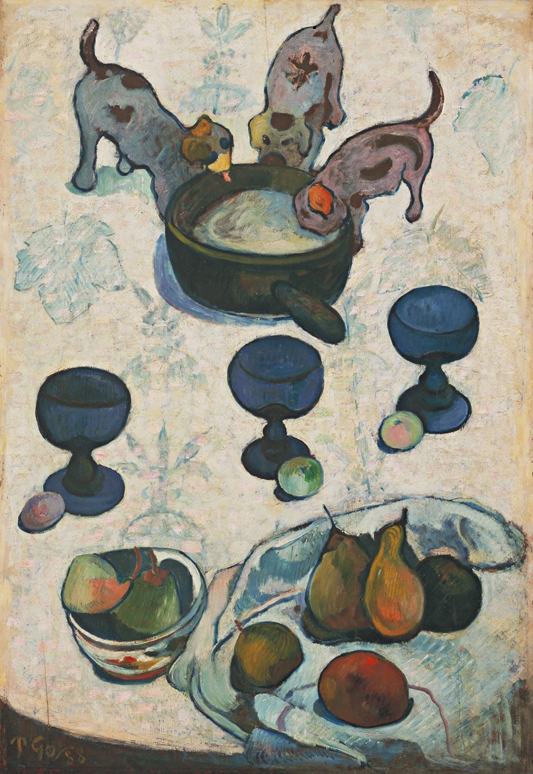 Paul Gauguin: ›Nature morte avec trois petits chiens‹, 1888
